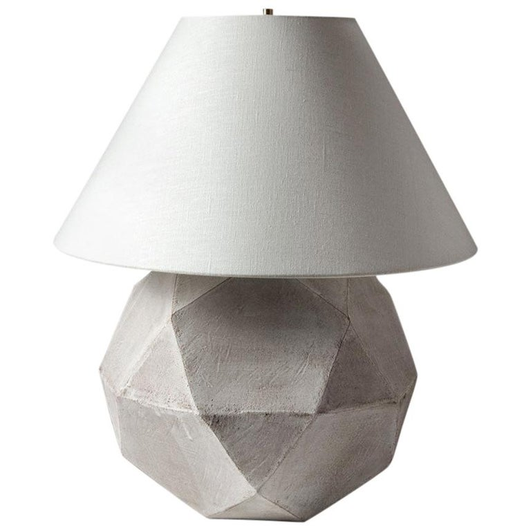 'Geode' Geometric White Ceramic and Brass Table Lamp with Linen Shade #4L For Sale