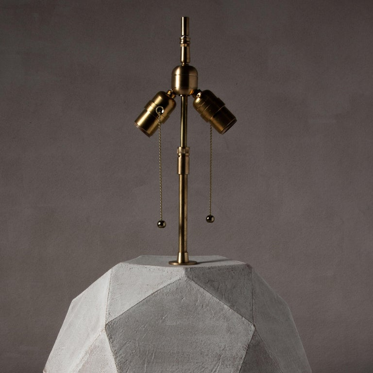 Modern 'Geode' Geometric White Ceramic and Brass Table Lamp with Linen Shade #3L For Sale