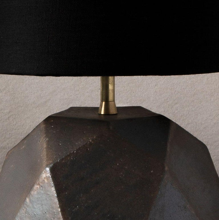 American 'Geode' Geometric White Ceramic and Brass Table Lamp with Linen Shade #3L For Sale