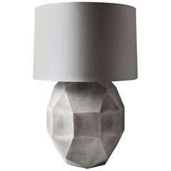 'Geode' Geometric White Ceramic and Brass Table Lamp with Linen Shade #3L