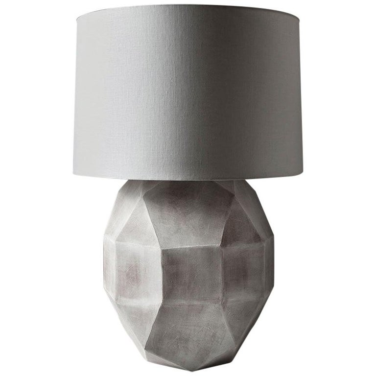 'Geode' Geometric White Ceramic and Brass Table Lamp with Linen Shade #3L For Sale