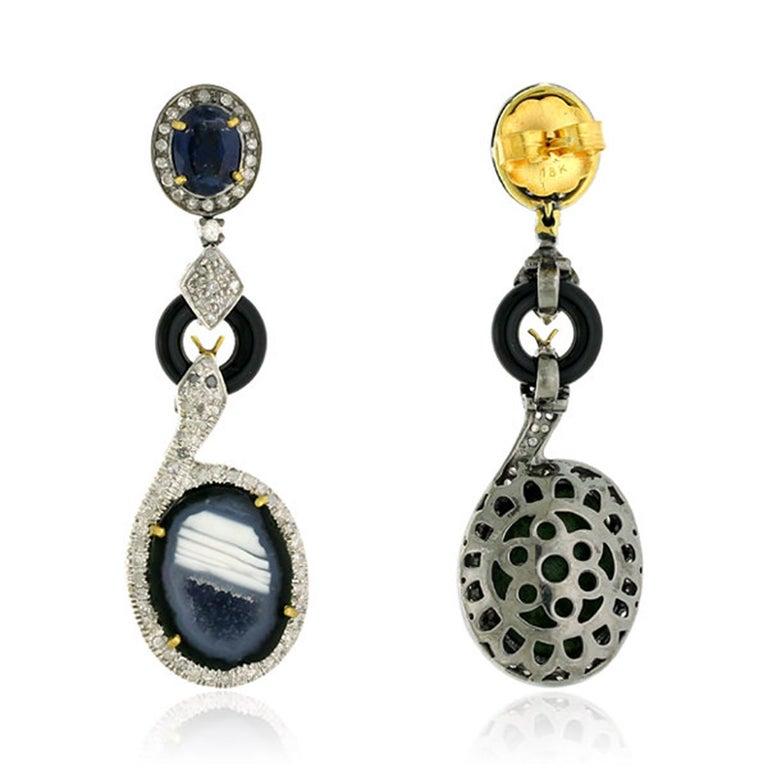 Modern Geode Kyanite Snake Diamond Earrings For Sale