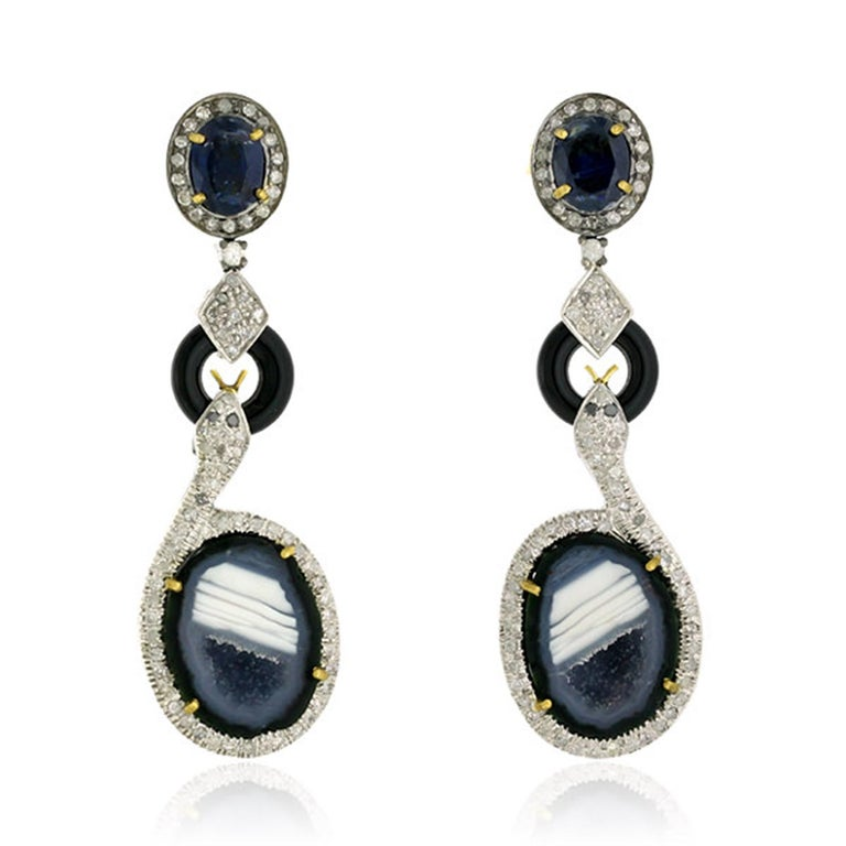 Mixed Cut Geode Kyanite Snake Diamond Earrings For Sale