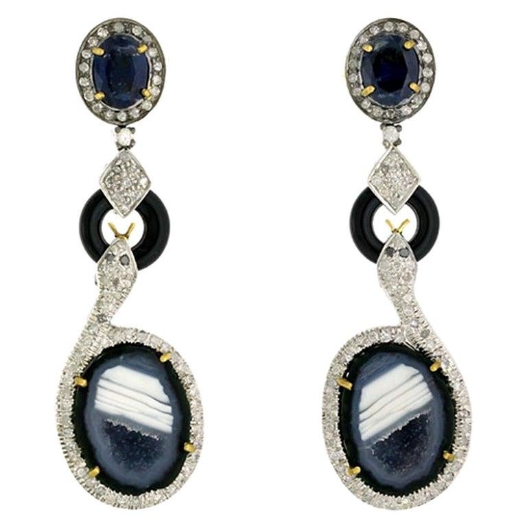 Geode Kyanite Snake Diamond Earrings For Sale