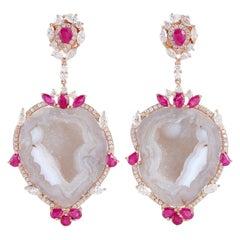 Geode Ruby Diamond 18 Karat Gold Earrings