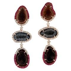 Geode Ruby Diamond 18 Karat Gold Triple Drop Earrings