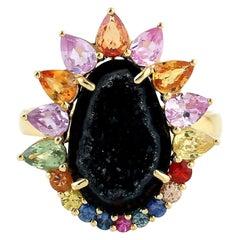 Geode Sapphire 18 Karat Gold Ring