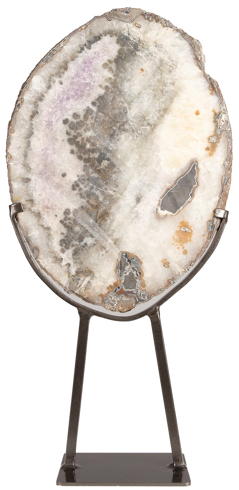 Uruguayan Geode Slice with Mix of Agate, White Quartz and Calcite Formation on Metal Stand For Sale
