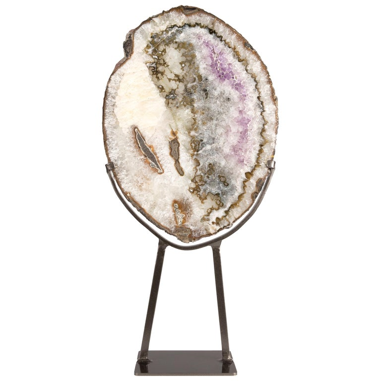 Geode Slice with Mix of Agate, White Quartz and Calcite Formation on Metal Stand For Sale