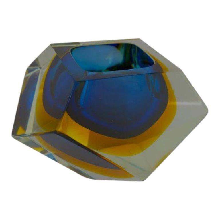 Geode Style Murano Glass Prism Sommerso Technique Vase