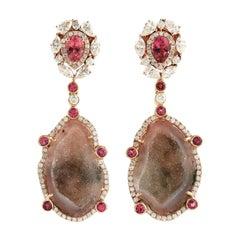 Geode Tourmaline One of a Kind Diamond Earrings