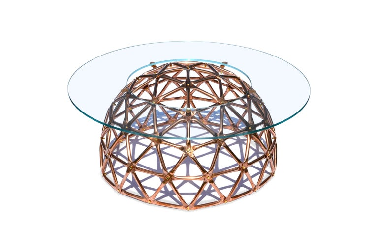 Modern Geodesic Dome Table in Copper by Connor Holland For Sale