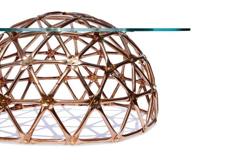 British Geodesic Dome Table in Copper by Connor Holland For Sale