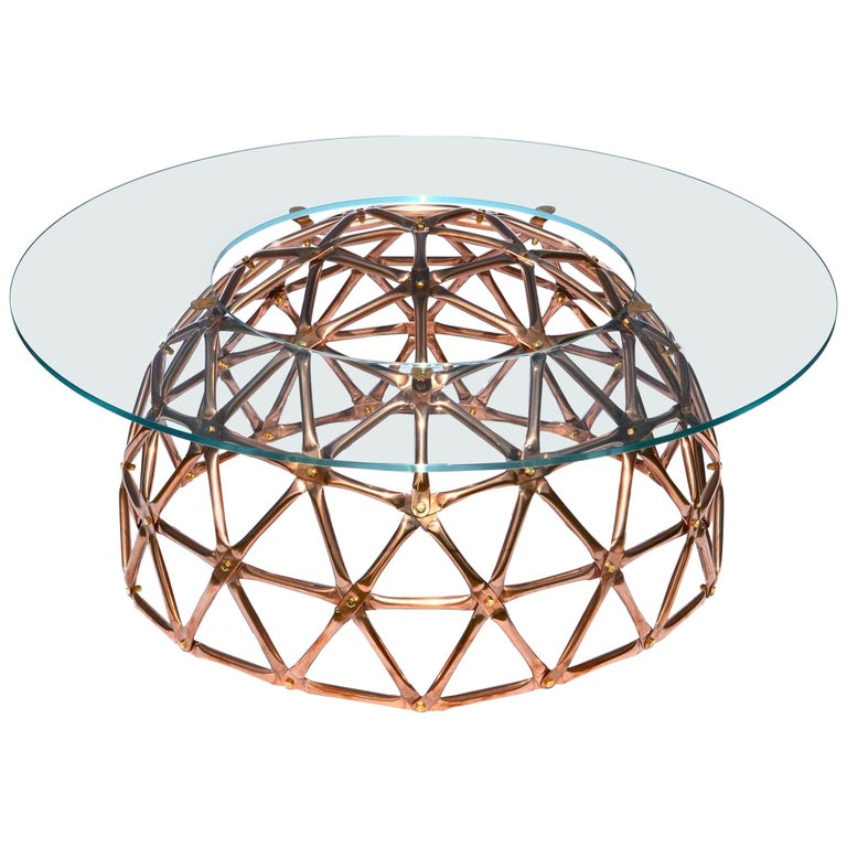 Geodesic Dome Table in Copper by Connor Holland For Sale