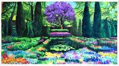 Garden with Jacaranda, Painting, Acrylic on Paper