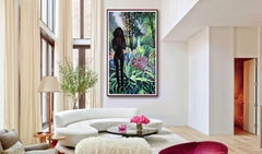 JUNGLE WITH LARGE BLACK FIGURE, Painting, Acrylic on Paper