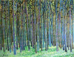 Large Peaceful Forest, Painting, Acrylic on Canvas