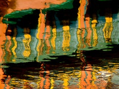 """Water Dance"", Abstract Color Photography by Geoffrey Baris, Green, Orange"