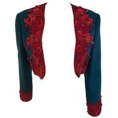 Geoffrey Bean Turquoise and Red Beaded and Embroidered Cropped Bolero