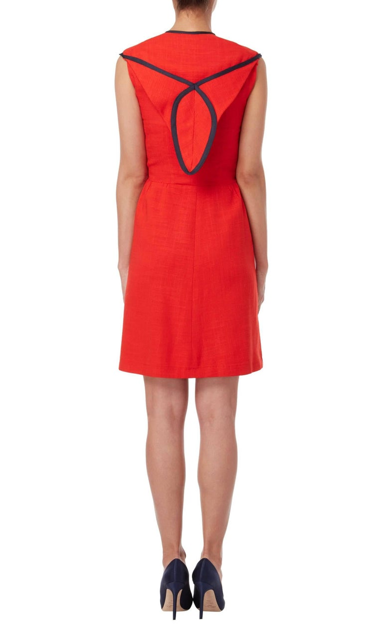 Red Geoffrey Beene, red linen dress, circa 1970 For Sale