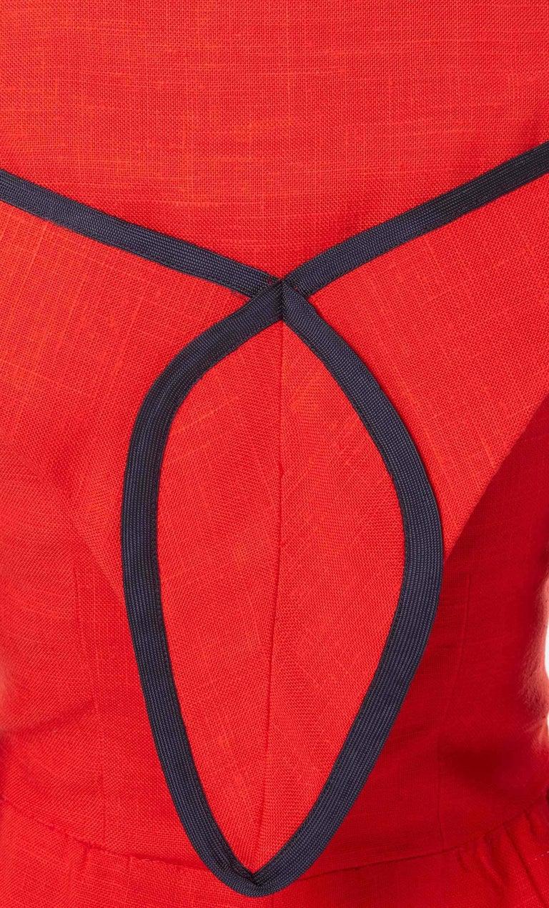 Women's Geoffrey Beene, red linen dress, circa 1970 For Sale
