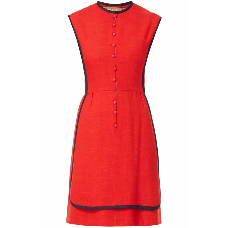 Geoffrey Beene, red linen dress, circa 1970 For Sale