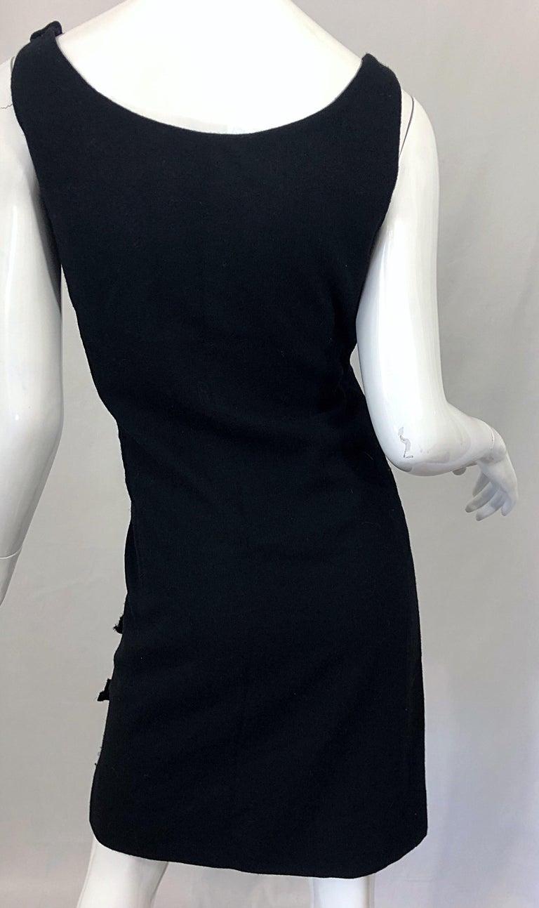 Geoffrey Beene 1960s Black Sleeveless Bow Detail Vintage 60s Wool Sheath Dress For Sale 6