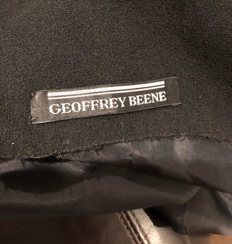 Geoffrey Beene 1960s Black Sleeveless Bow Detail Vintage 60s Wool Sheath Dress For Sale 11