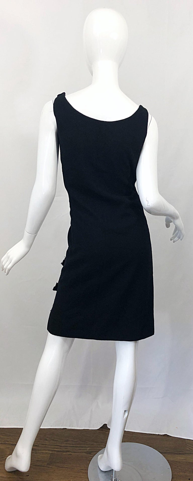 Geoffrey Beene 1960s Black Sleeveless Bow Detail Vintage 60s Wool Sheath Dress In Excellent Condition For Sale In Chicago, IL