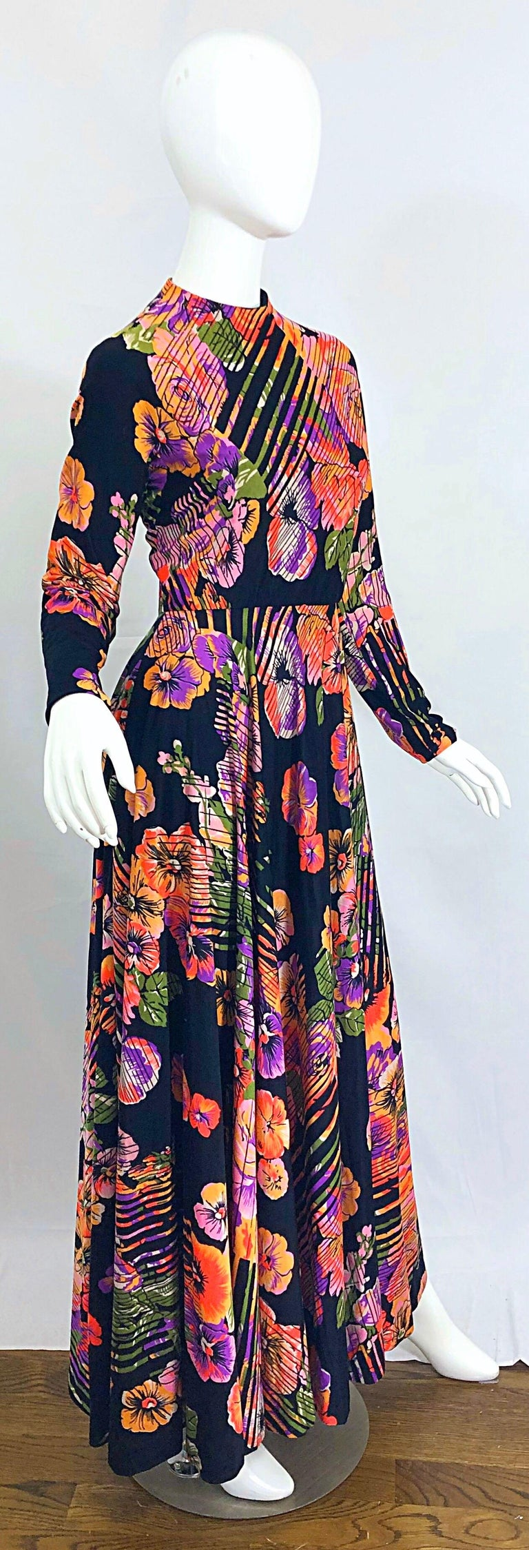Geoffrey Beene 1970s Abstract Flower Print Long Sleeve High Neck 70s Maxi Dress For Sale 6