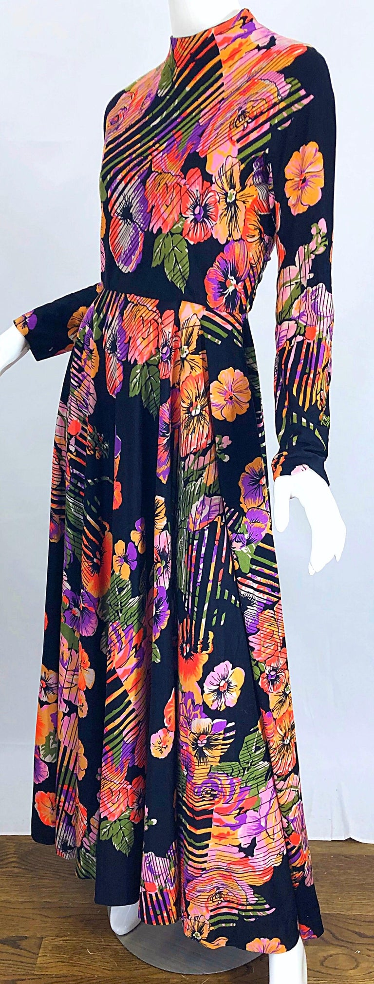 Geoffrey Beene 1970s Abstract Flower Print Long Sleeve High Neck 70s Maxi Dress For Sale 8