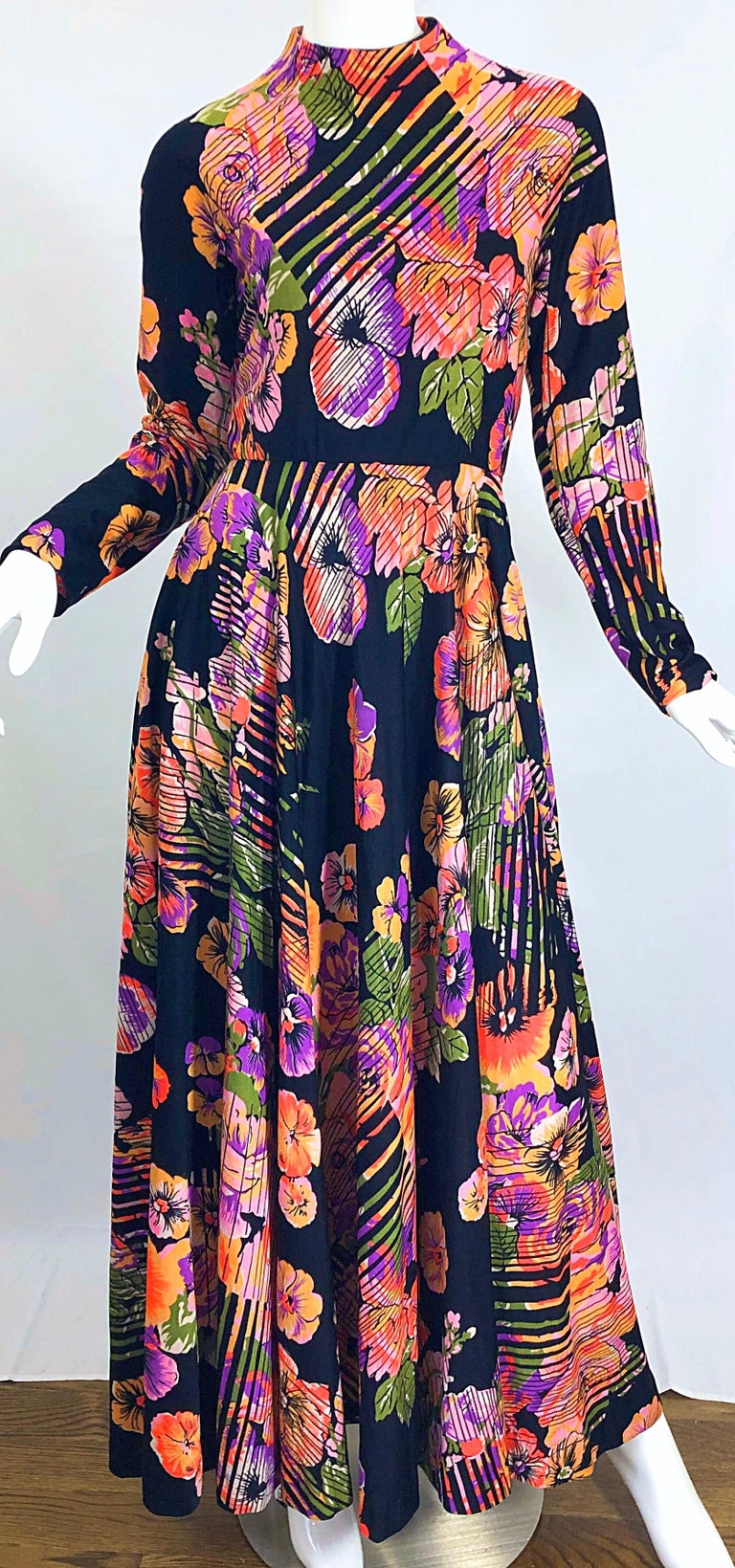 Geoffrey Beene 1970s Abstract Flower Print Long Sleeve High Neck 70s Maxi Dress For Sale 5