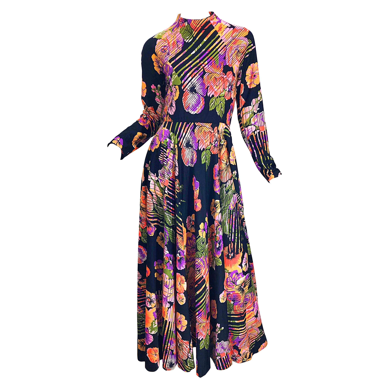 Geoffrey Beene 1970s Abstract Flower Print Long Sleeve High Neck 70s Maxi Dress