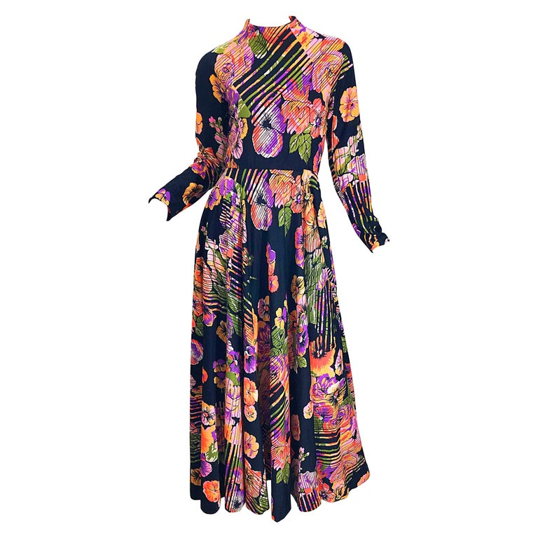 Geoffrey Beene 1970s Abstract Flower Print Long Sleeve High Neck 70s Maxi Dress For Sale