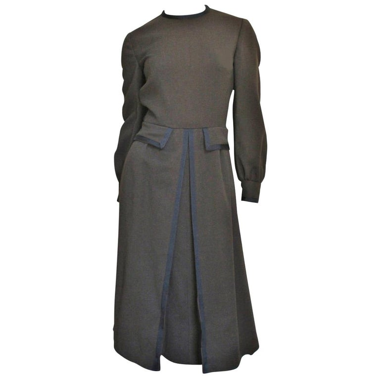 Geoffrey Beene 1970s Brown with Black Trim Dress For Sale