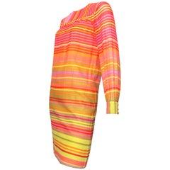 Geoffrey Beene 1980s Cotton Striped Dress Size 4 /6.