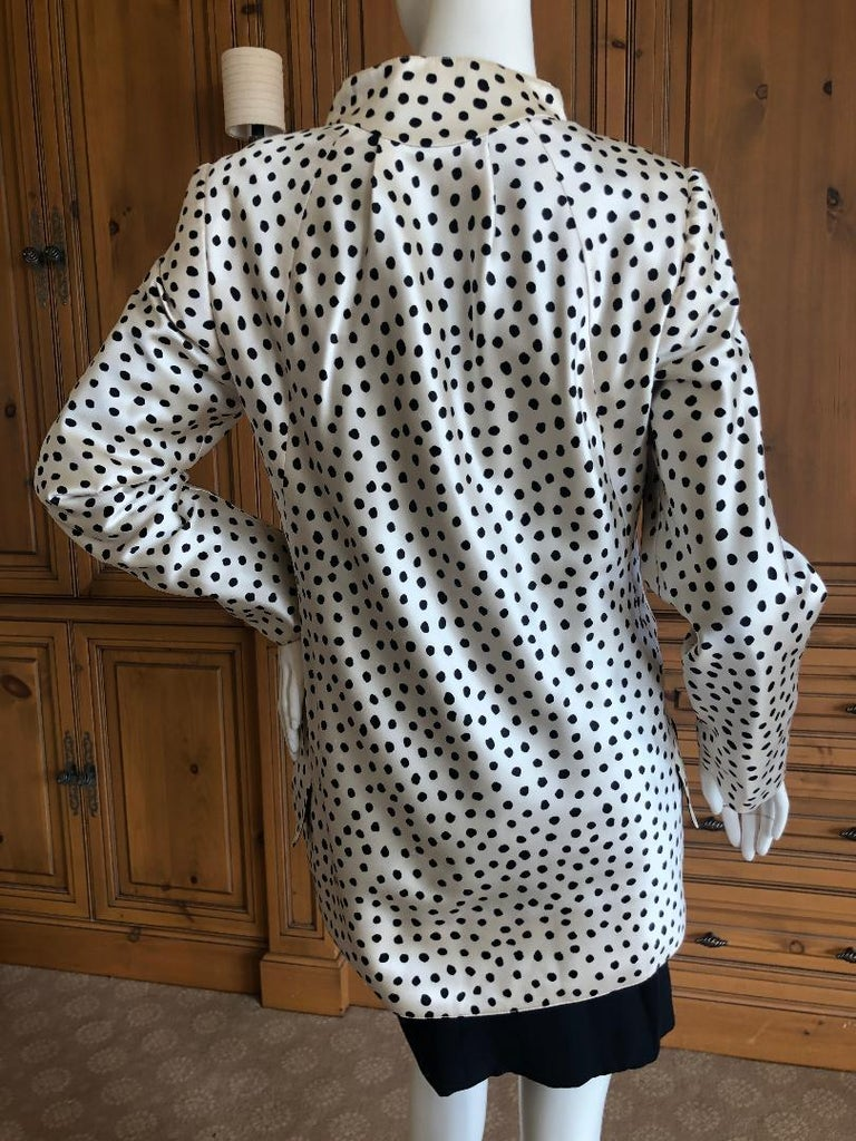 Geoffrey Beene 1980's Polka Dot Silk Strapless Dress and Matching Jacket For Sale 5