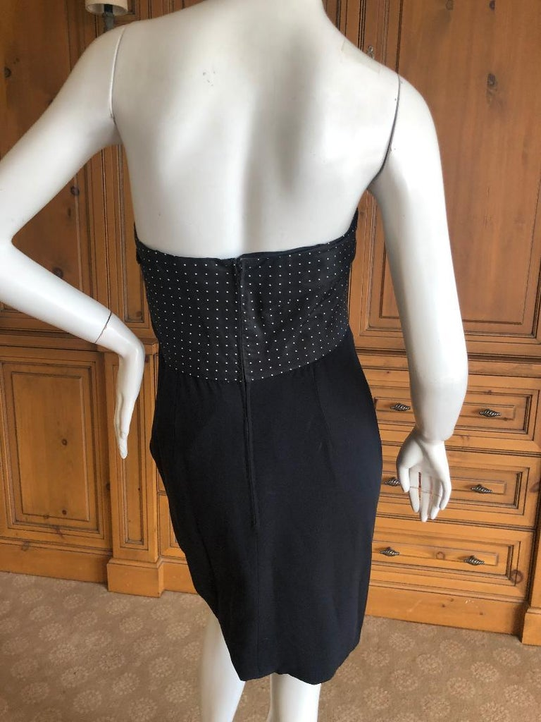 Geoffrey Beene 1980's Polka Dot Silk Strapless Dress and Matching Jacket For Sale 6