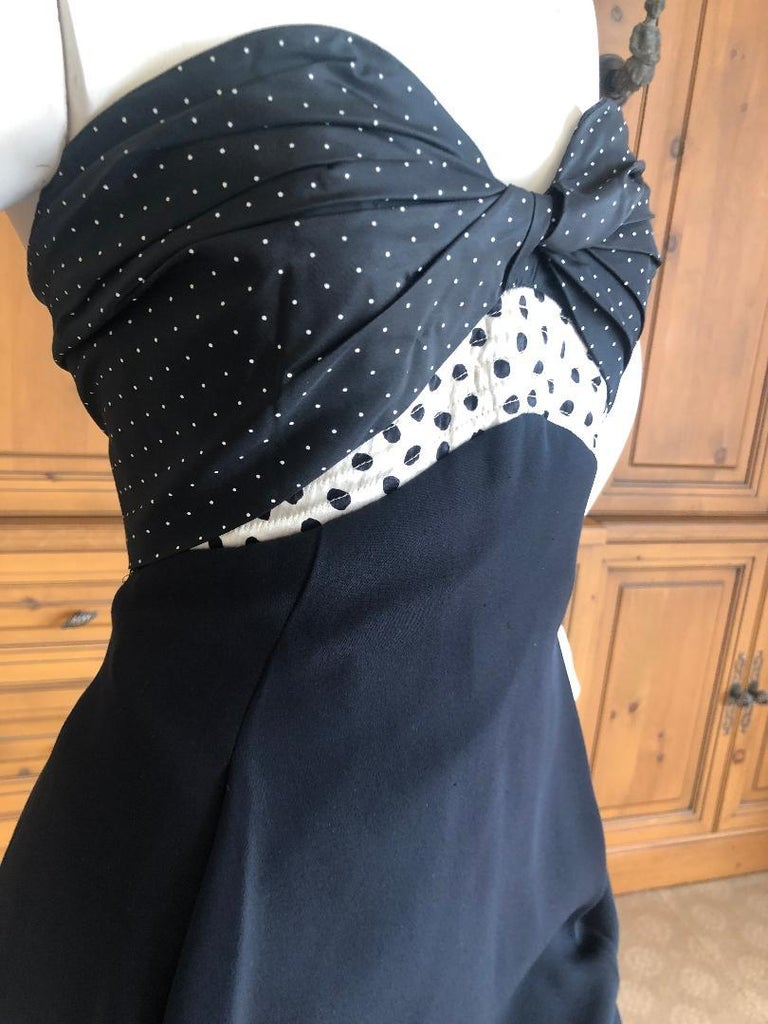 Geoffrey Beene 1980's Polka Dot Silk Strapless Dress and Matching Jacket In Excellent Condition For Sale In San Francisco, CA