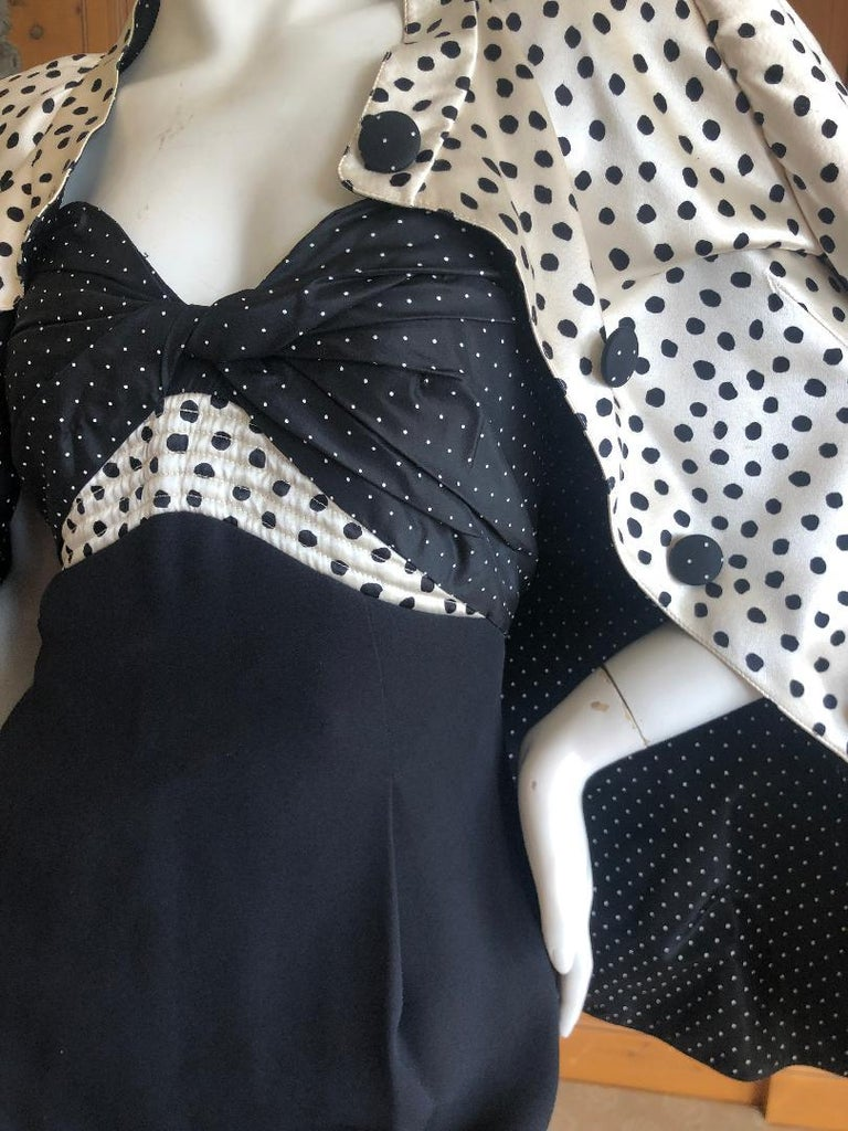 Geoffrey Beene 1980's Polka Dot Silk Strapless Dress and Matching Jacket For Sale 2