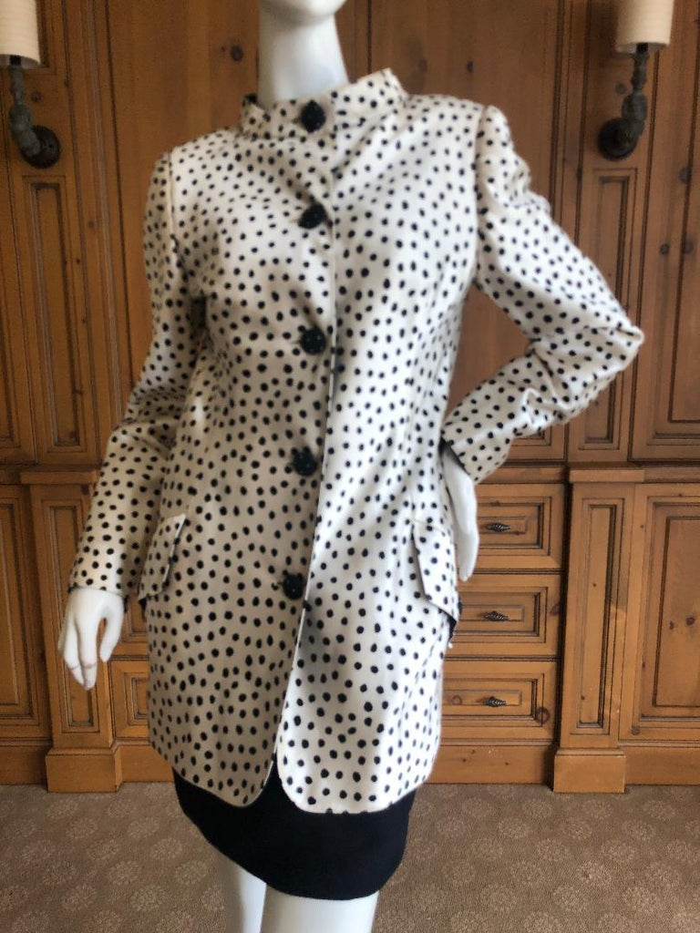 Geoffrey Beene 1980's Polka Dot Silk Strapless Dress and Matching Jacket For Sale 3