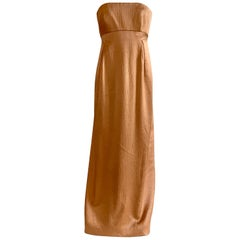 Geoffrey Beene 1990s Textured Silk Apricot Beige Strapless Evening Gown