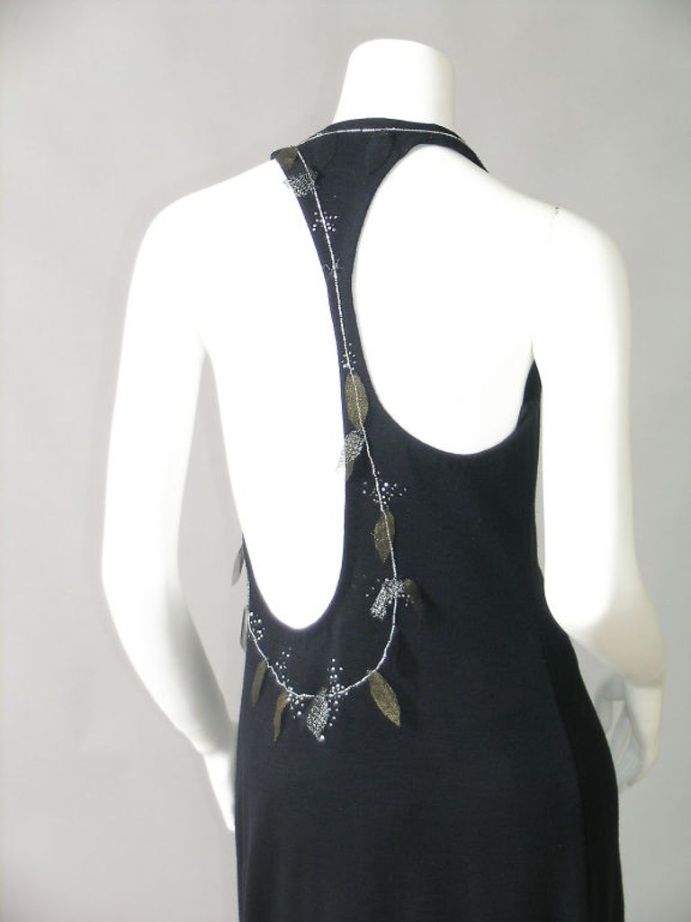 Women's Geoffrey Beene Bare Back Black Knit Dress with Beadwork and Metallic Mesh Leaves For Sale