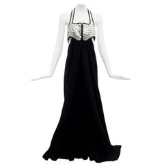 Geoffrey Beene Black Jersey Silver Lame' Paillettes Evening Dress, Circa: 1990's