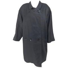 Geoffrey Beene Black Linen Double Breasted Coat 1980s