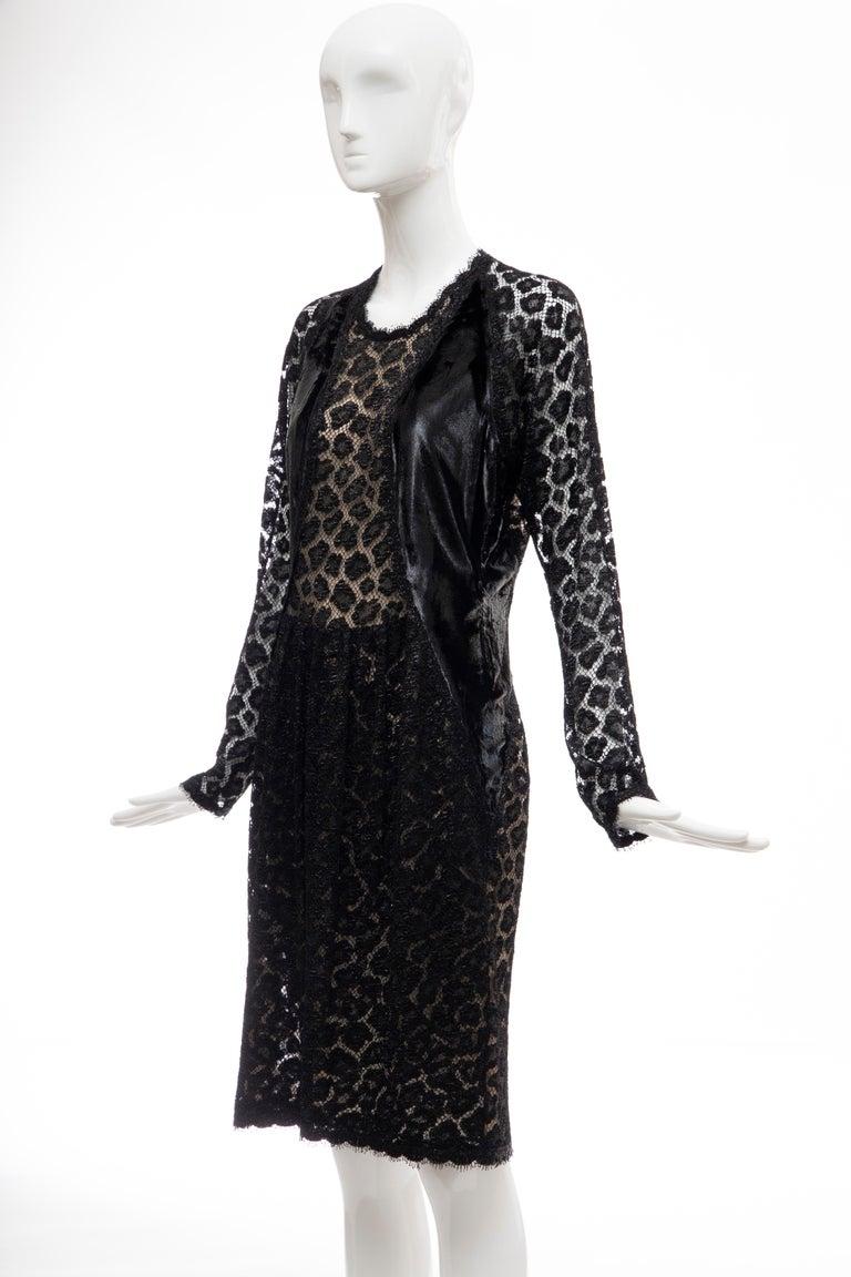 Geoffrey Beene Black Metallic Leopard Lace Dress