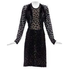 "Geoffrey Beene Black Metallic Leopard Lace Dress ""Circus Collection"", Fall 1992"