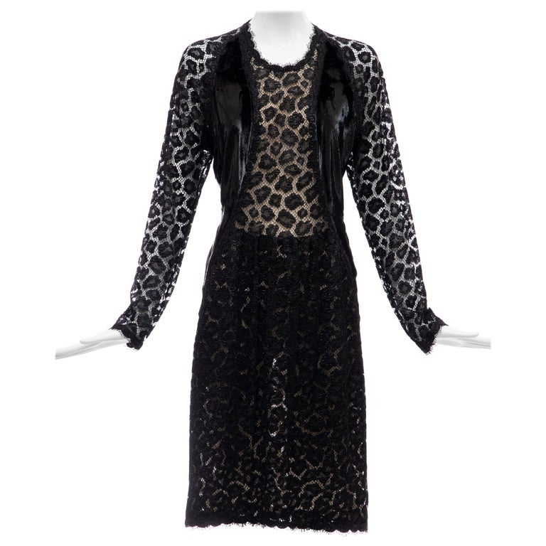 """Geoffrey Beene Black Metallic Leopard Lace Dress """"Circus Collection"""", Fall 1992 For Sale"""