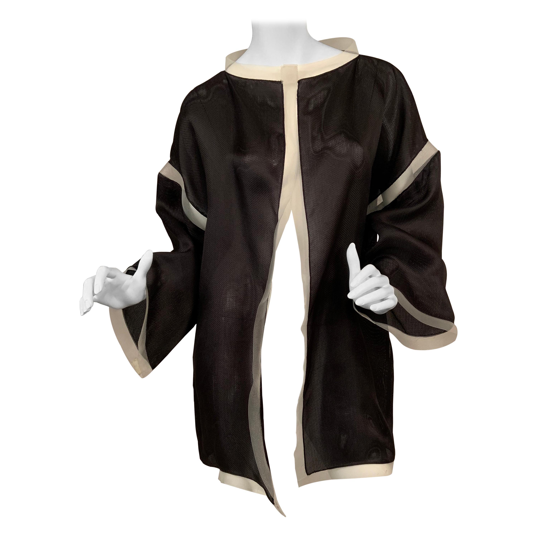 Geoffrey Beene Black Silk Gazar Jacket with White Horsehair Trim  Book Piece