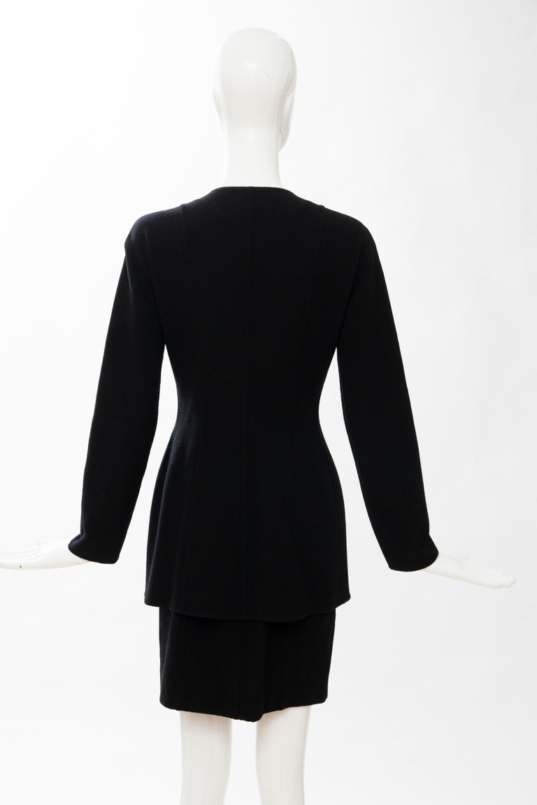 Geoffrey Beene Black Wool Crepe Embroidered Sequins Dress Ensemble, Circa 1990's For Sale 6